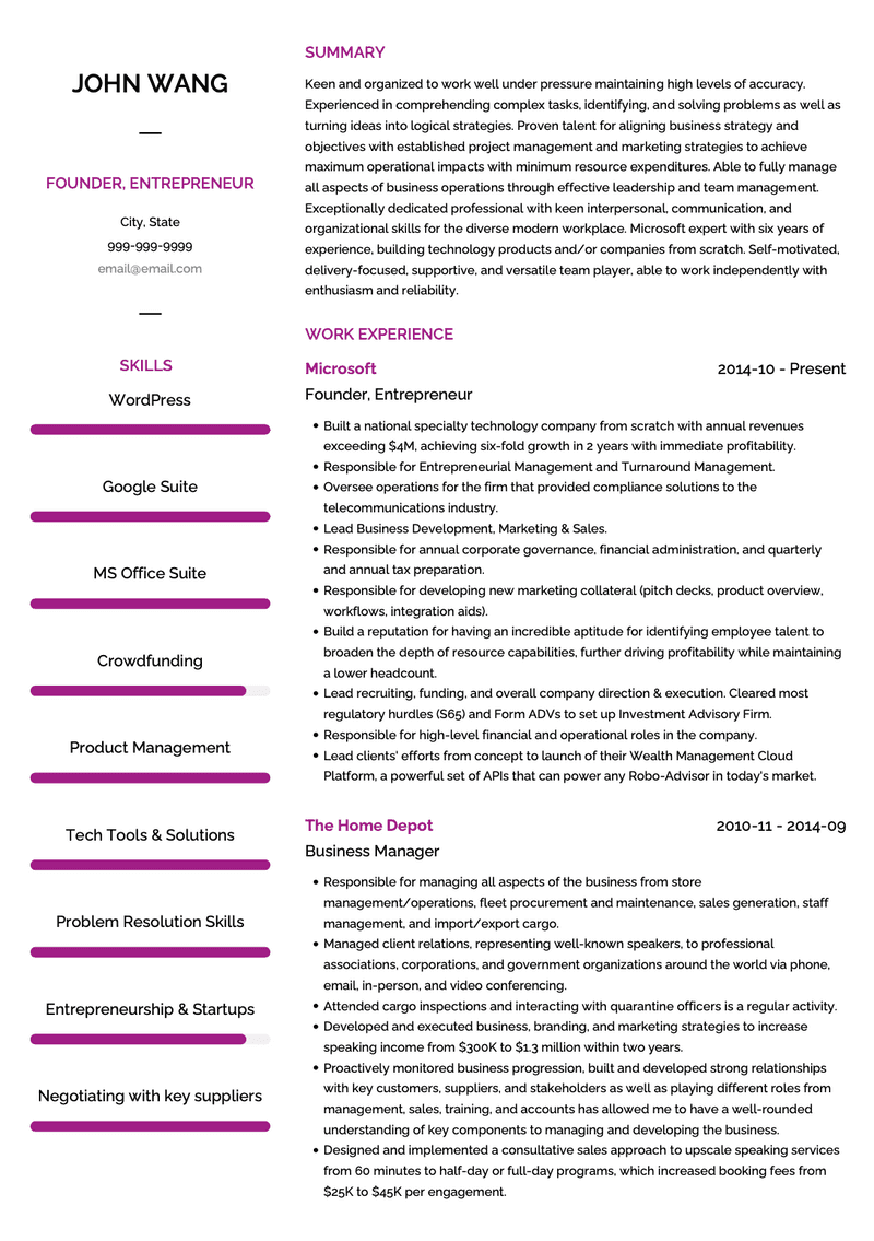 Entrepreneur CV Example and Template