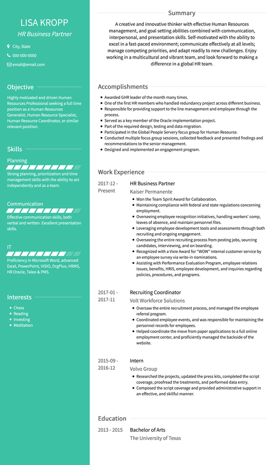 Two Column Resume Template and Example - Avant by VisualCV