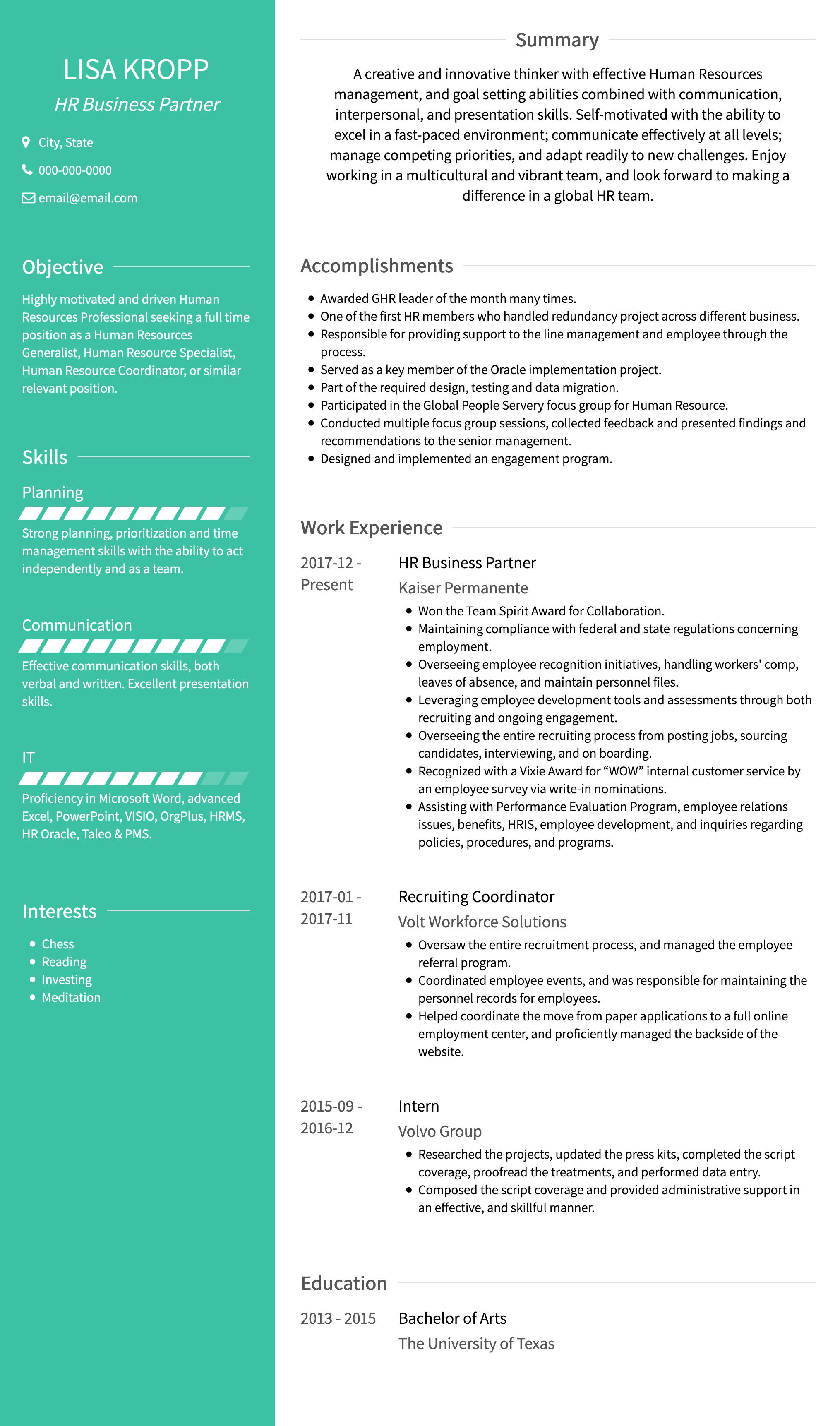 two column resume template  avant  visualcv
