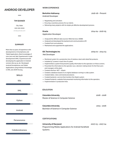 android developer resume samples and templates  visualcv