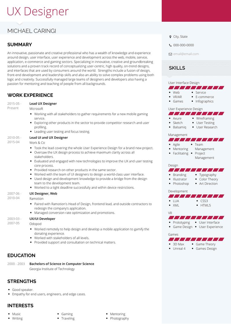 Ux Designer Resume Samples And Templates Visualcv
