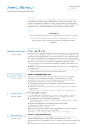 Senior Buyer, Supply Chain & Buyer Resume Sample and Template