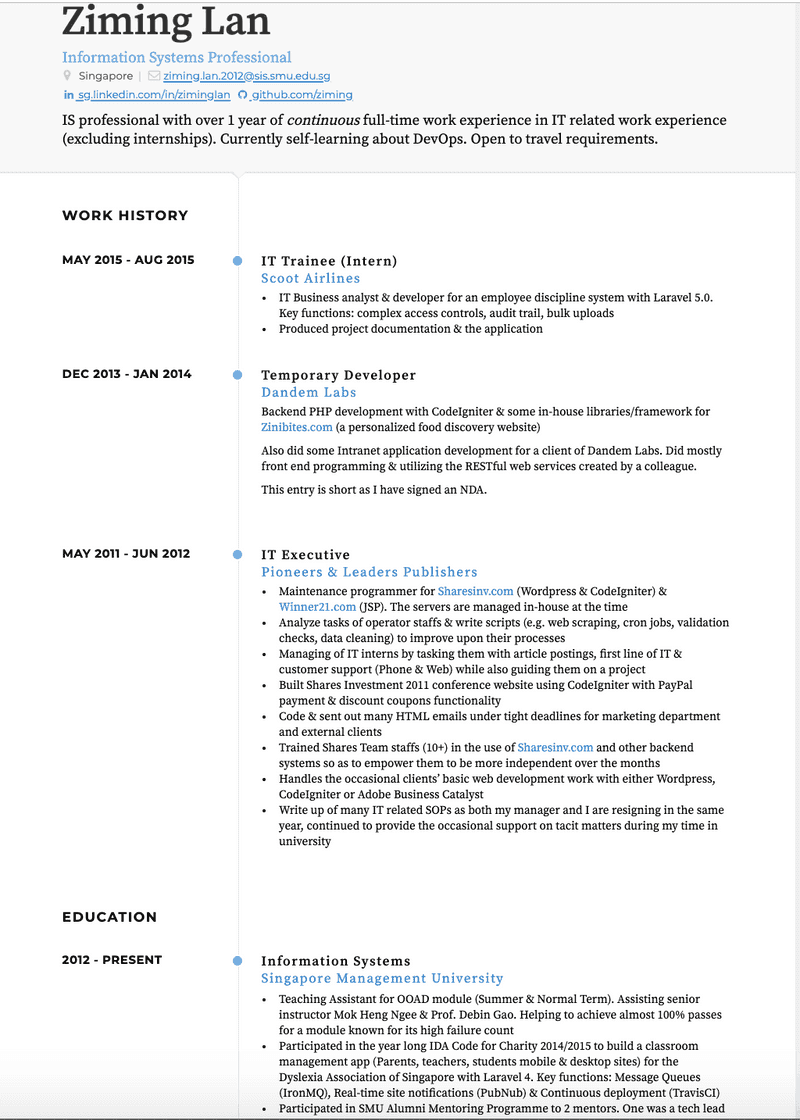 Trainee CV Example and Template