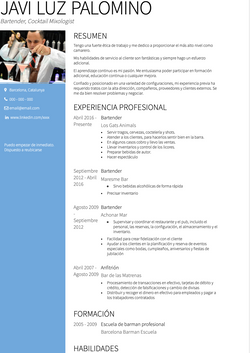 Bartender CV Example and Template