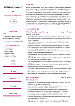 Marketing Director CV Example and Template