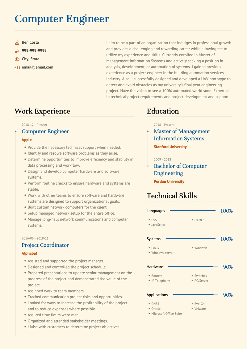 Computer Engineer CV Example and Template