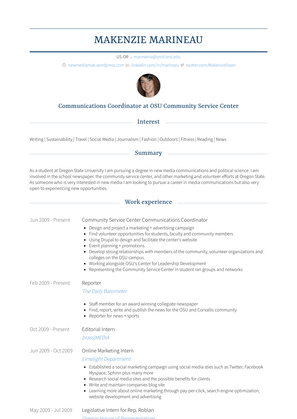 Community Service Center Communications Coordinator Resume Sample and Template