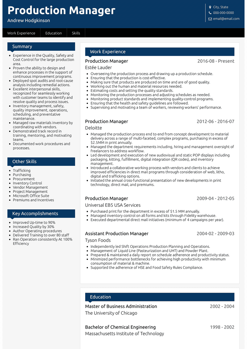 Production Manager Resume Samples And Templates Visualcv