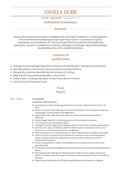 Housekeeping CV Example and Template