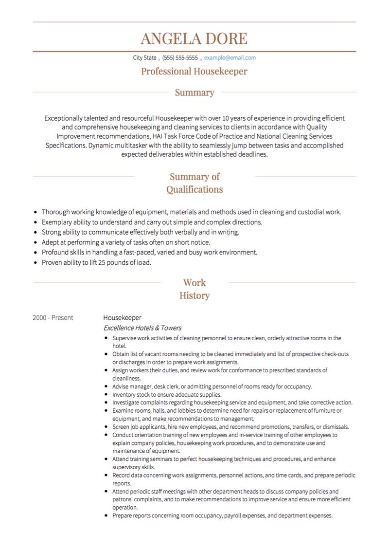 Housekeeping Cv Examples Templates Visualcv