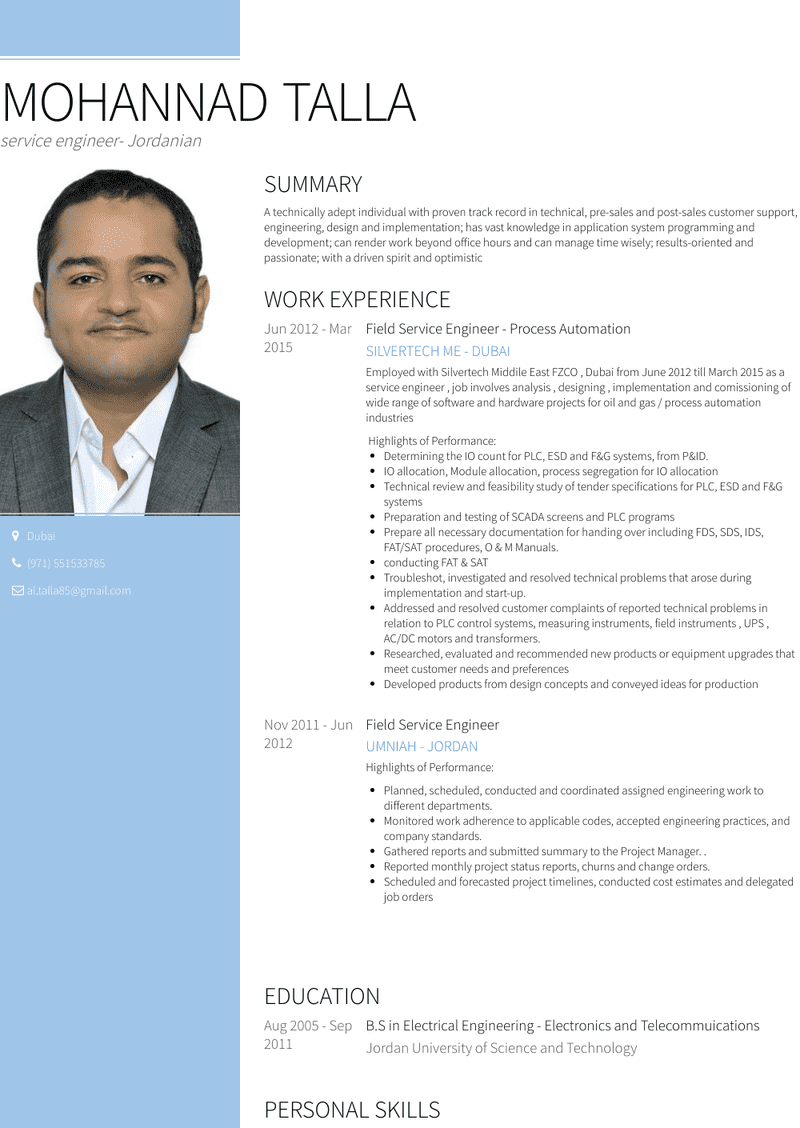 Service Engineer Resume Samples And Templates Visualcv