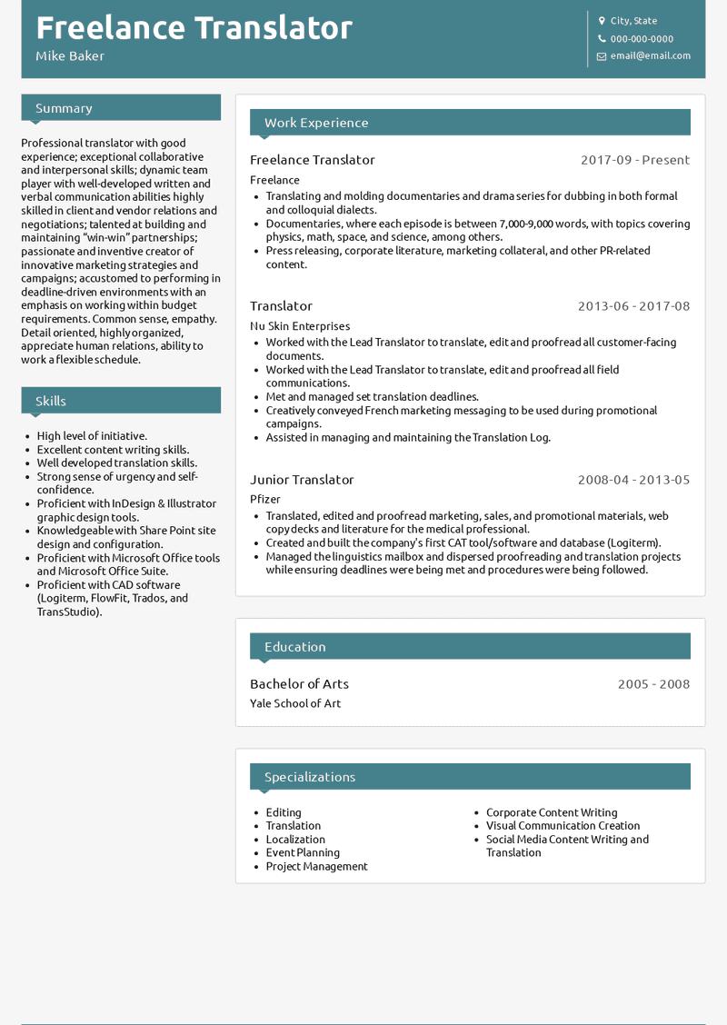 freelance translator resume samples and templates  visualcv