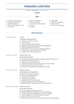 Teacher CV Example and Template