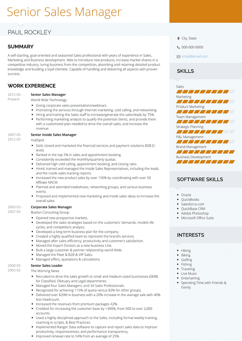 Sales Resume Template from www.visualcv.com