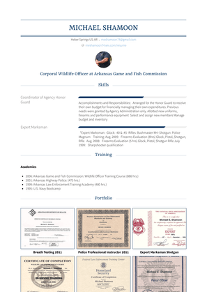 Corporal Wildlife Officer Resume Sample and Template