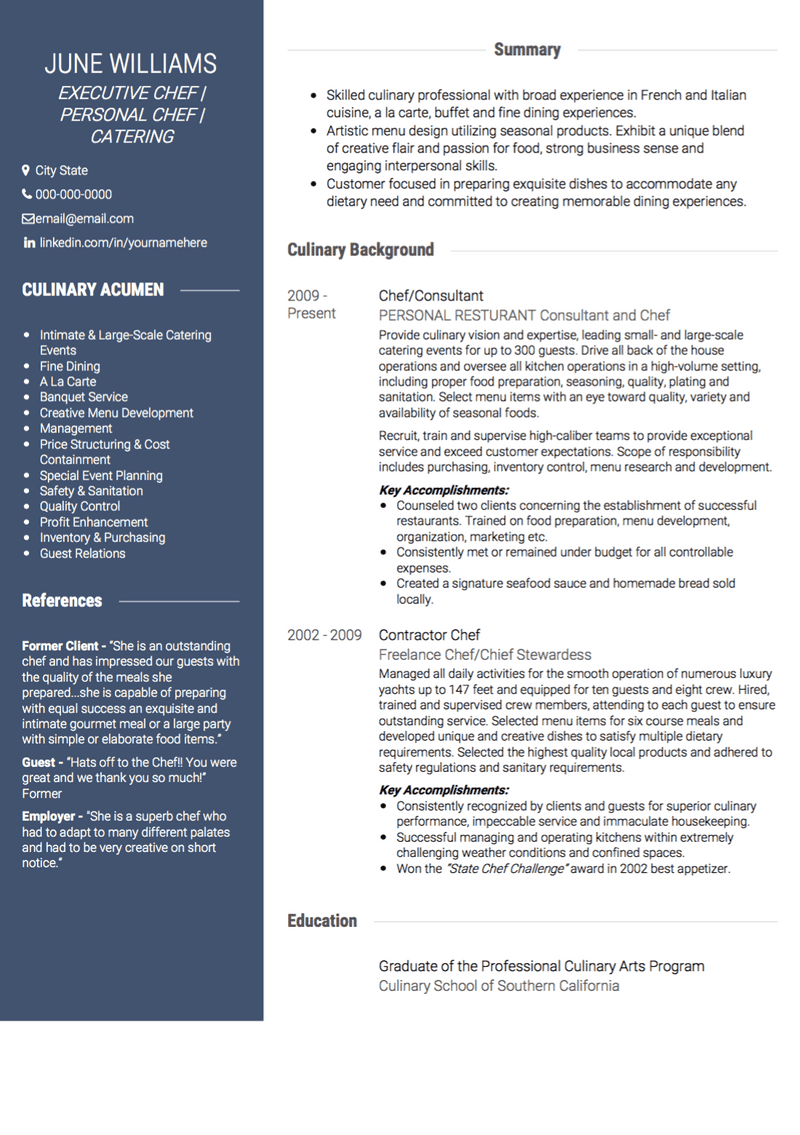 Chef CV Example and Template