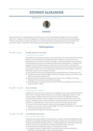 Strategic Research Consultant Resume Sample and Template