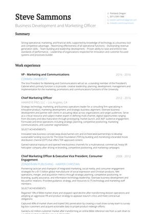 Co Founder & President Resume Sample and Template