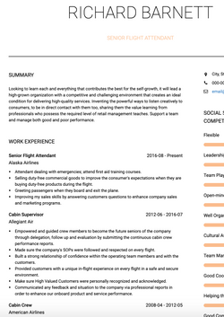 Flight Attendant CV Example and Template