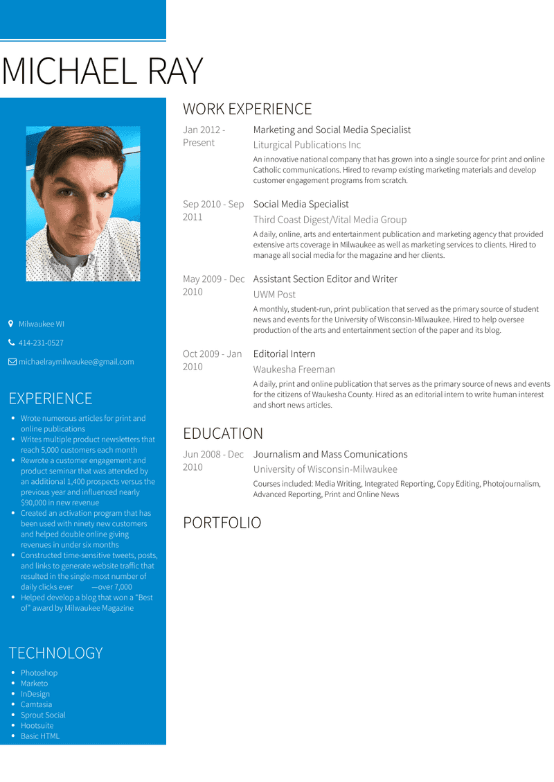Marketing And Social Media Specialist Resume Sample and Template