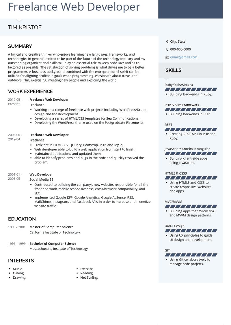 freelance web developer resume samples and templates