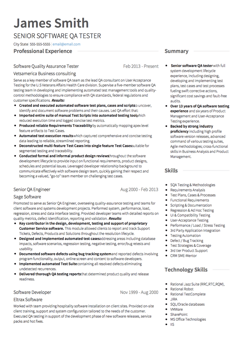 Software Engineer Cv Examples Templates Visualcv