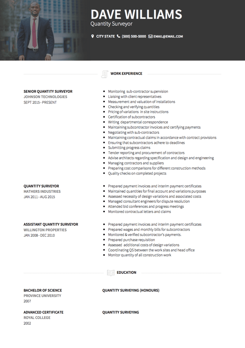 Quantity Surveyor CV Example and Template