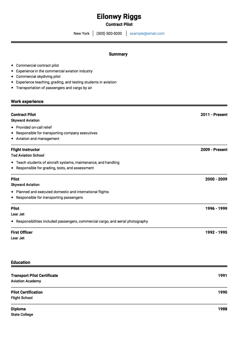 Pilot CV Example and Template