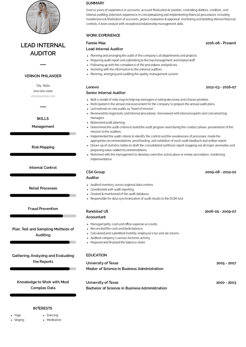 it auditor resume templates