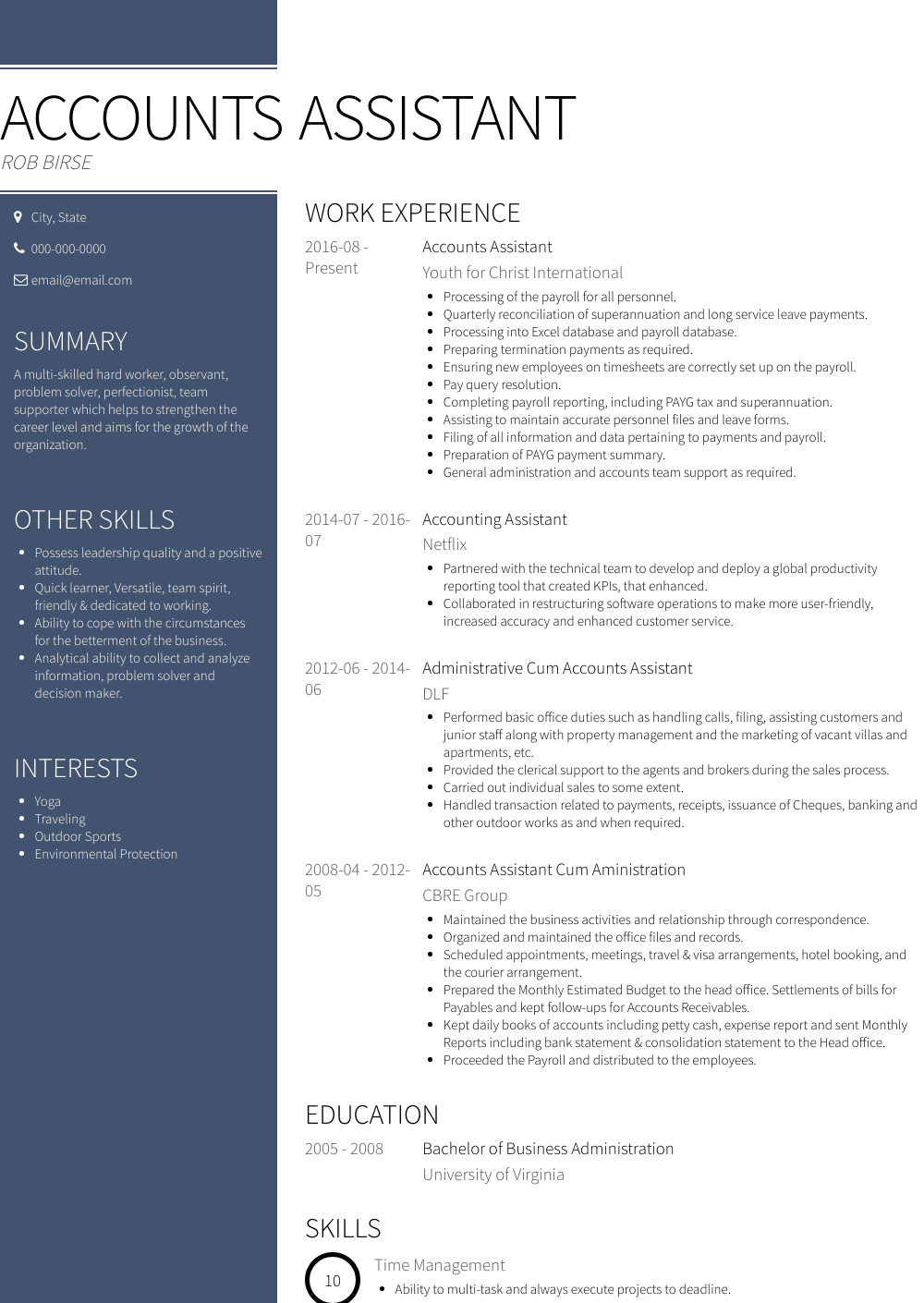 accounts assistant  resume samples and templates  visualcv