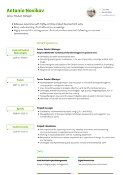 Chronological CV Template and Example - Clair by VisualCV