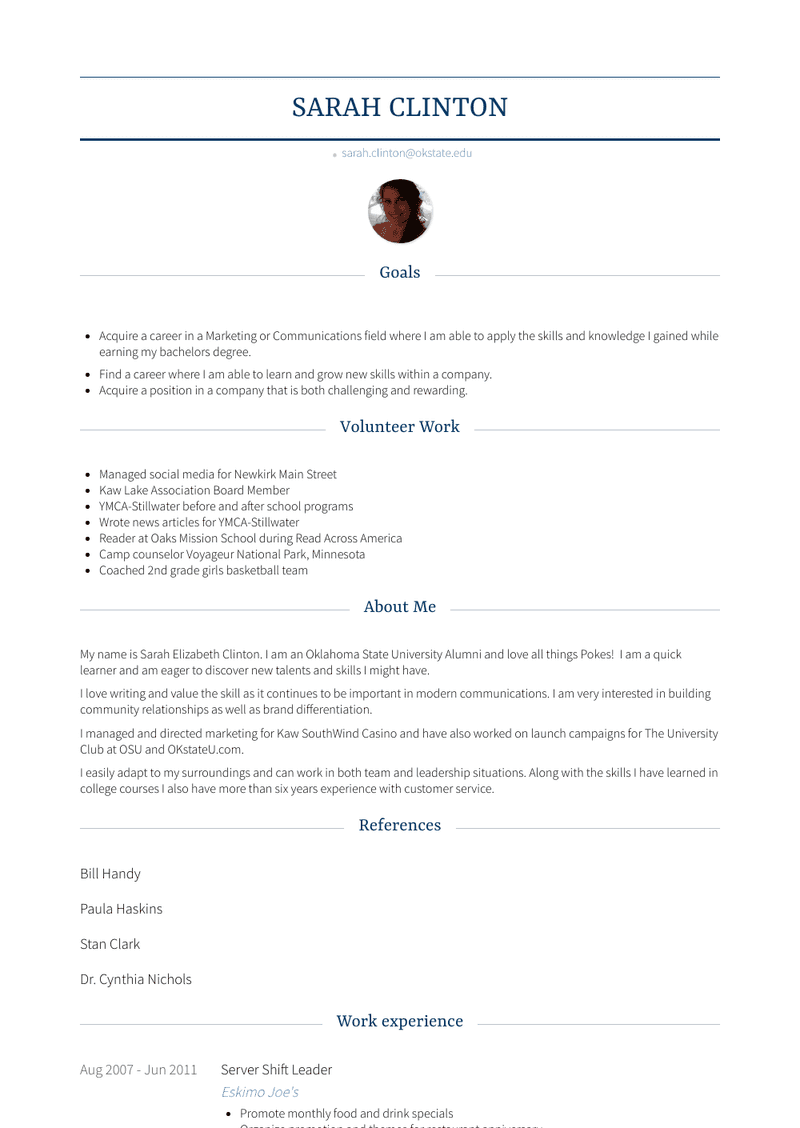 Server Shift Leader Resume Sample and Template