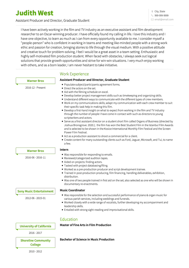 Graduate Student CV Example and Template