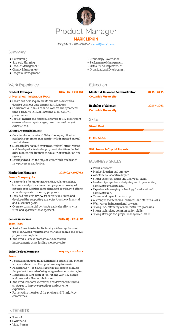 Professional Resume Template and Example - Vida by VisualCV
