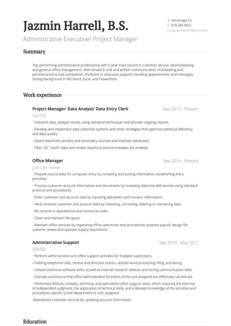 Data Entry Clerk Resume Samples And Templates Visualcv
