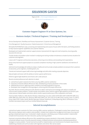 Customer Support Engineer Iv Resume Sample and Template