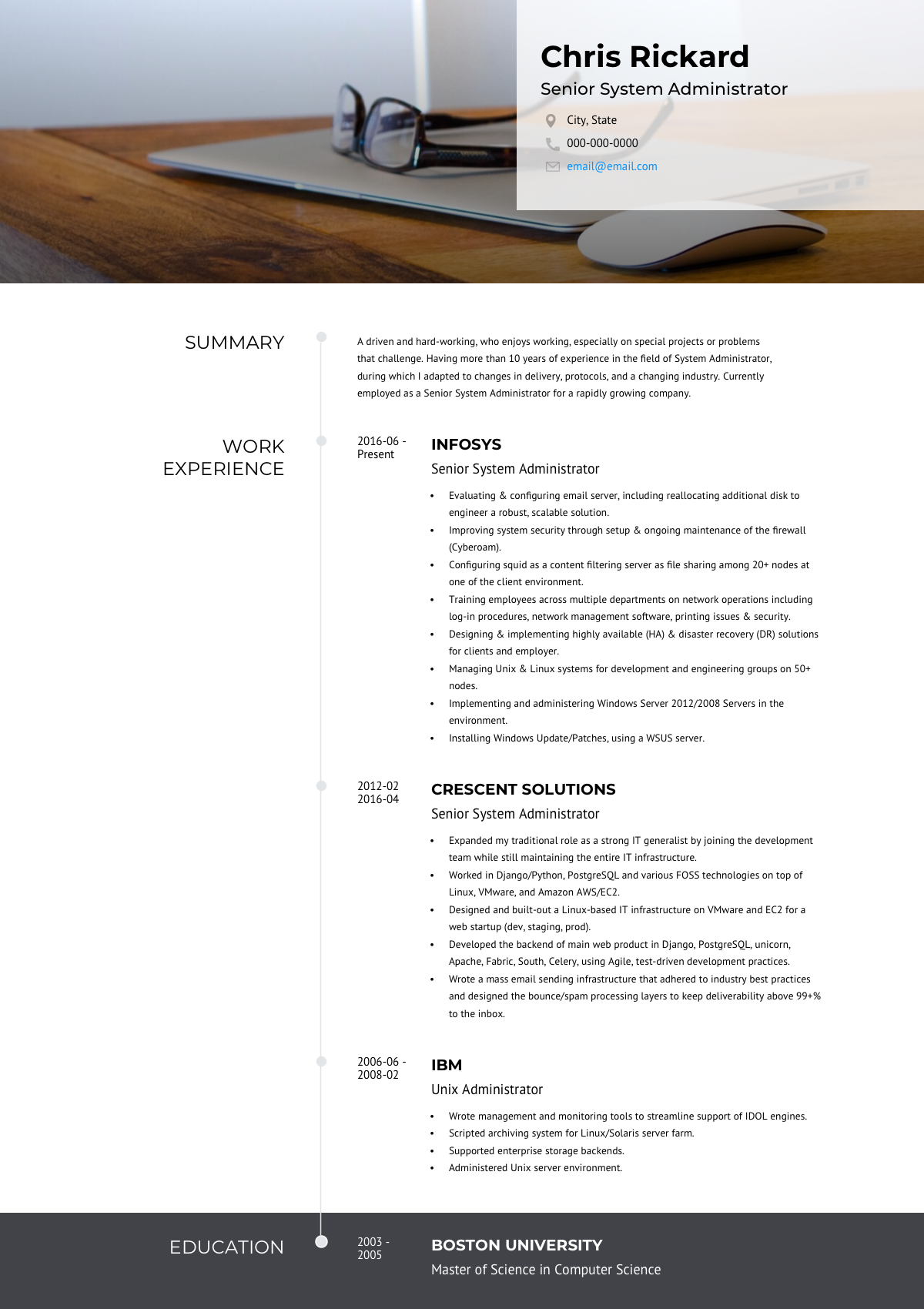 online resume template