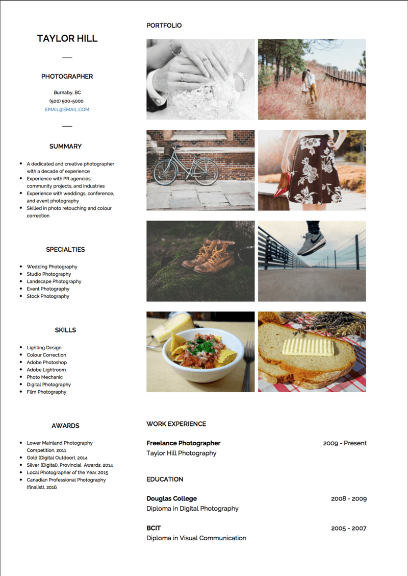 Photography CV Example and Template