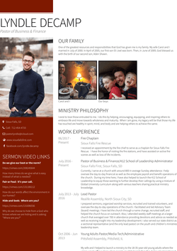Young Adults Pastor/Media Tech/Administrative Resume Sample and Template