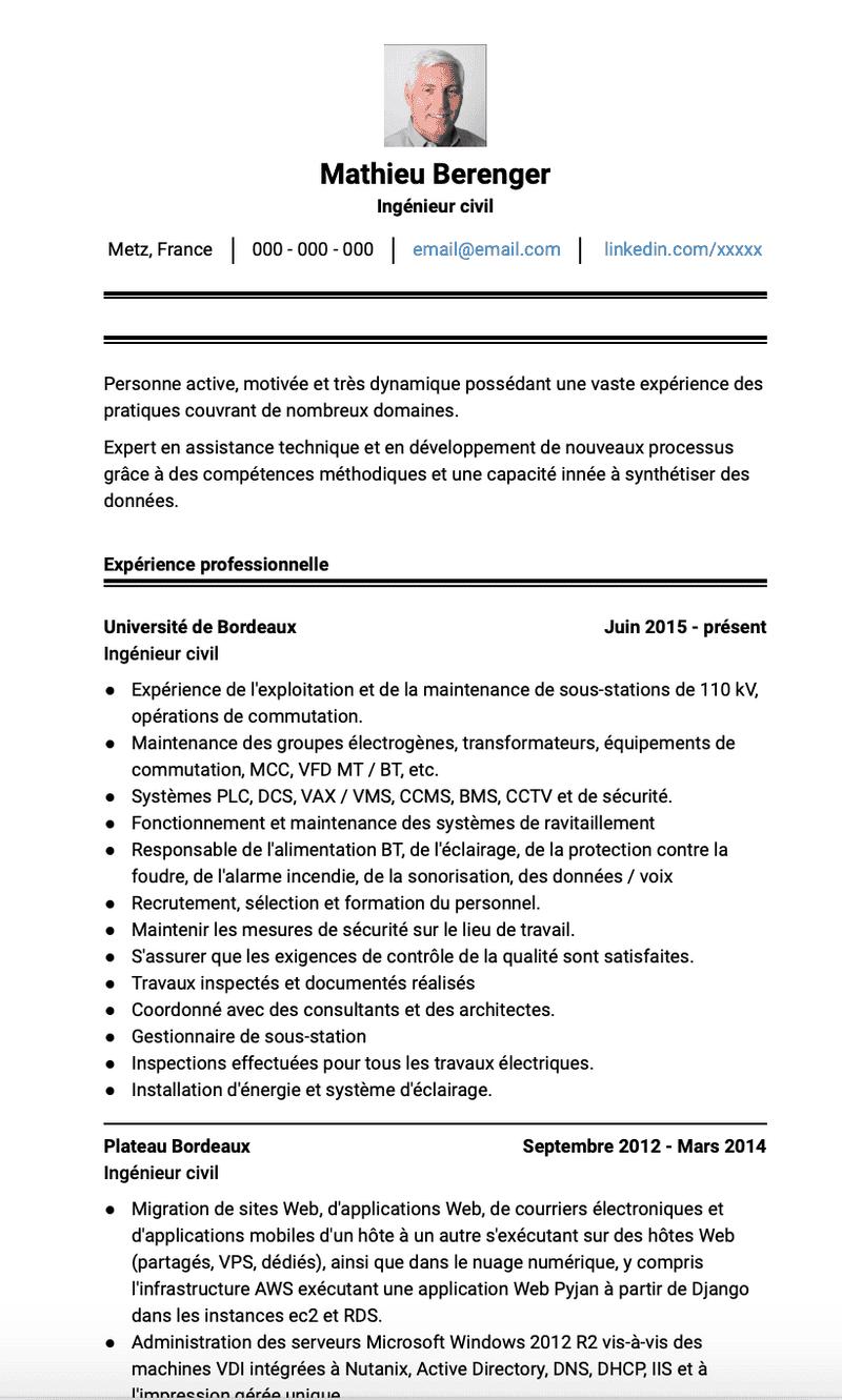 Exemples Ingénieur civil de CV et des échantillons de CV ...