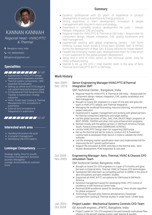 Senior Engineering Manager Hvac/ptc &thermal Integration Smt Resume Sample and Template