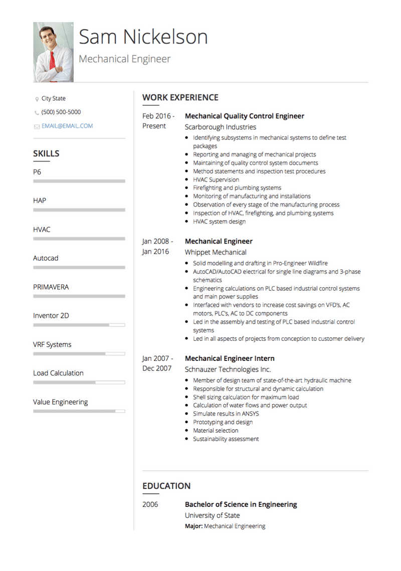 Mechanical Engineer Cv Examples Templates Visualcv