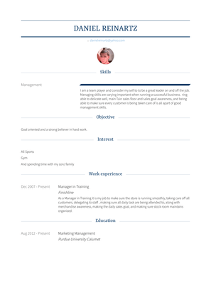 Manager In Training Resume Sample and Template