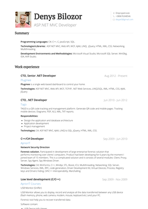 Cto, senior .net Developer Resume Sample and Template