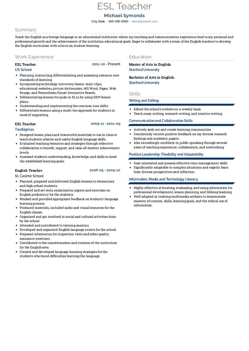 esl teacher resume samples and templates  visualcv