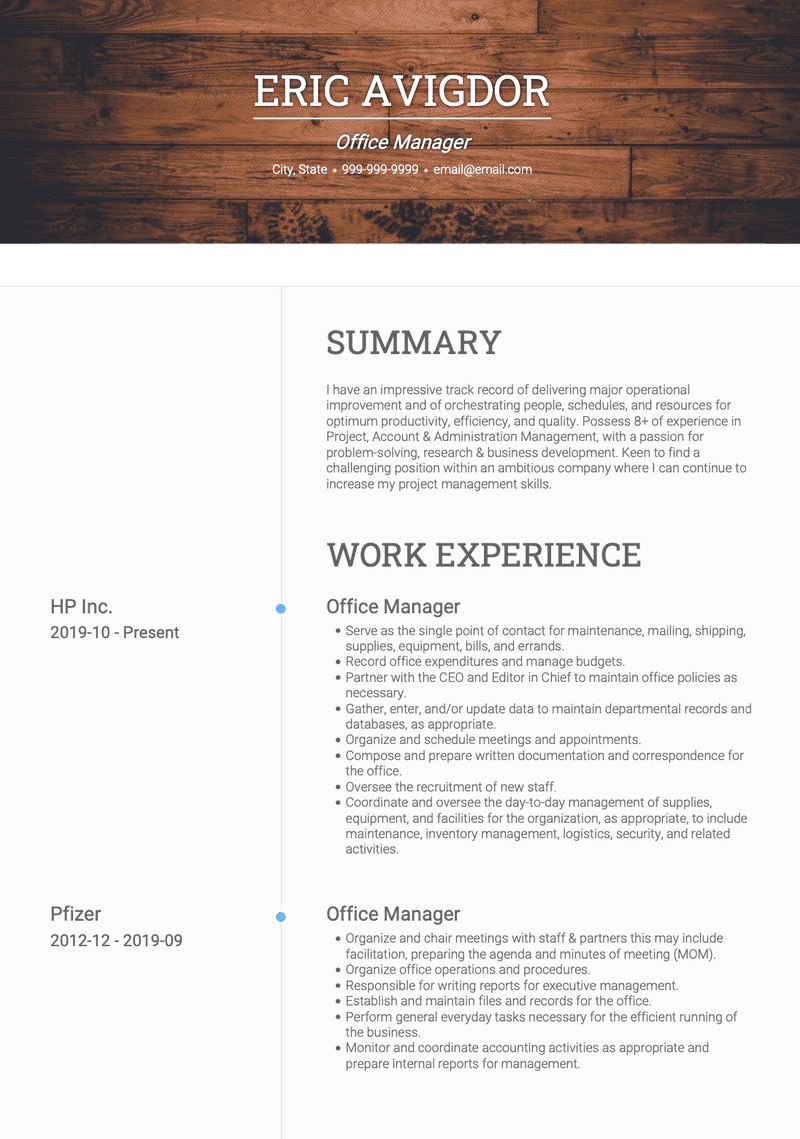 Office Manager CV Example and Template