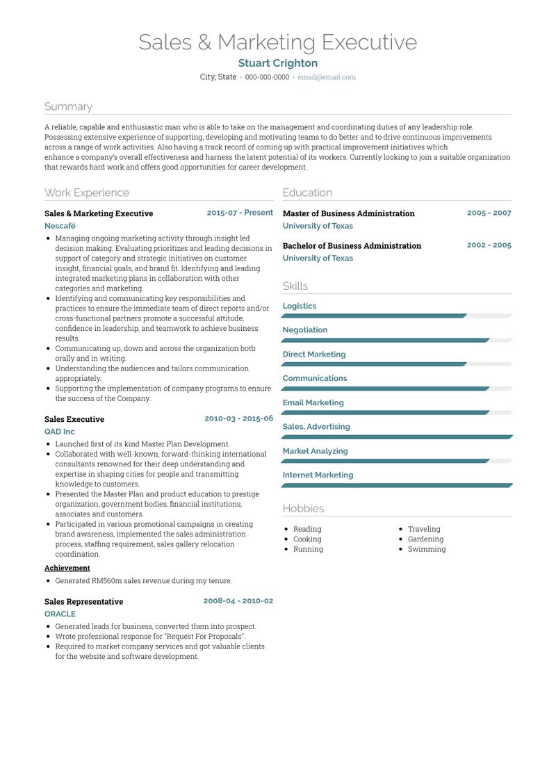 Sales Marketing Executive Resume Samples And Templates Visualcv
