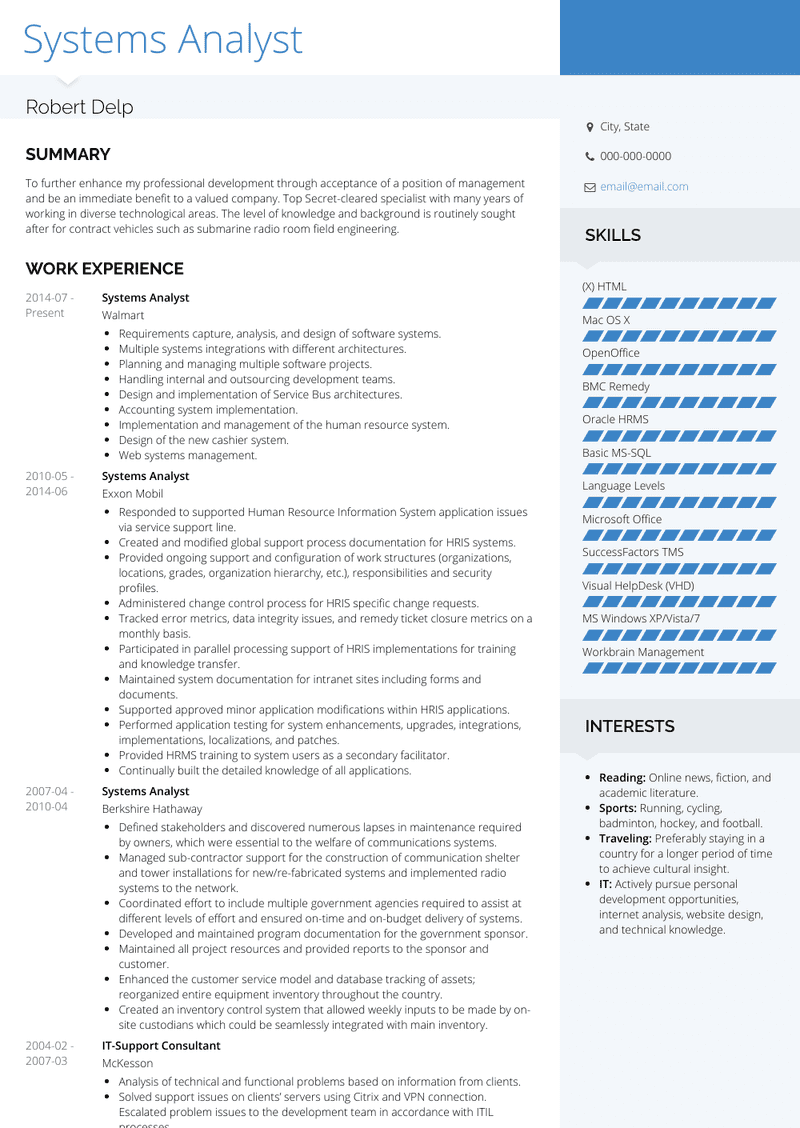 systems analyst  resume samples and templates  visualcv