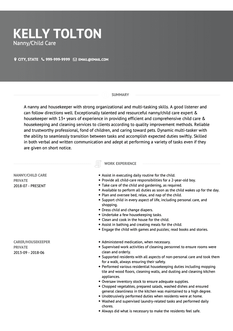 Child Care CV Example and Template
