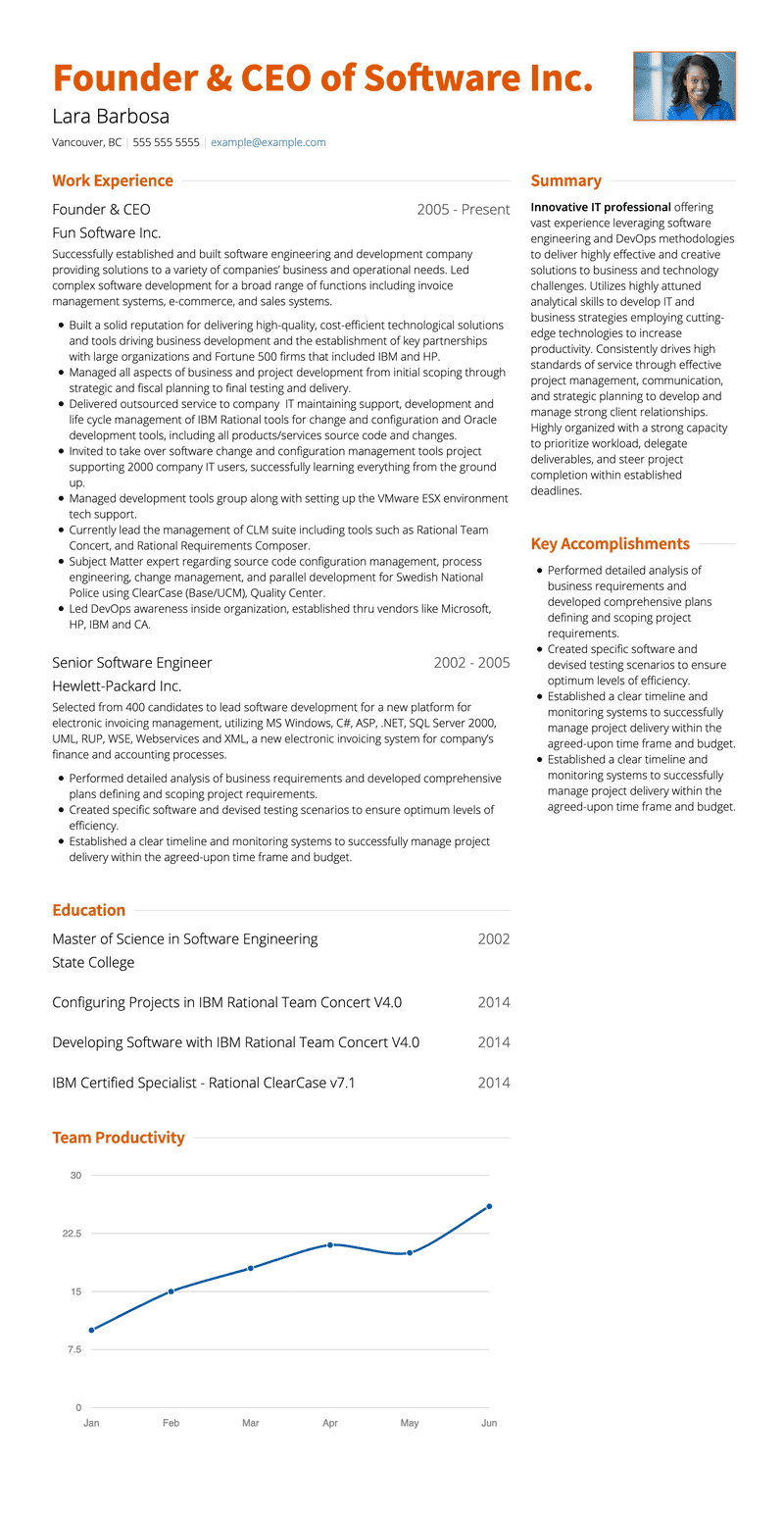 One Page Resume Template and Example - Slate by VisualCV